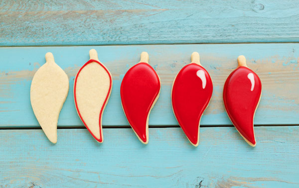 How to Decorate Chili Pepper Cookies with Royal Icing thebearfootbaker.com