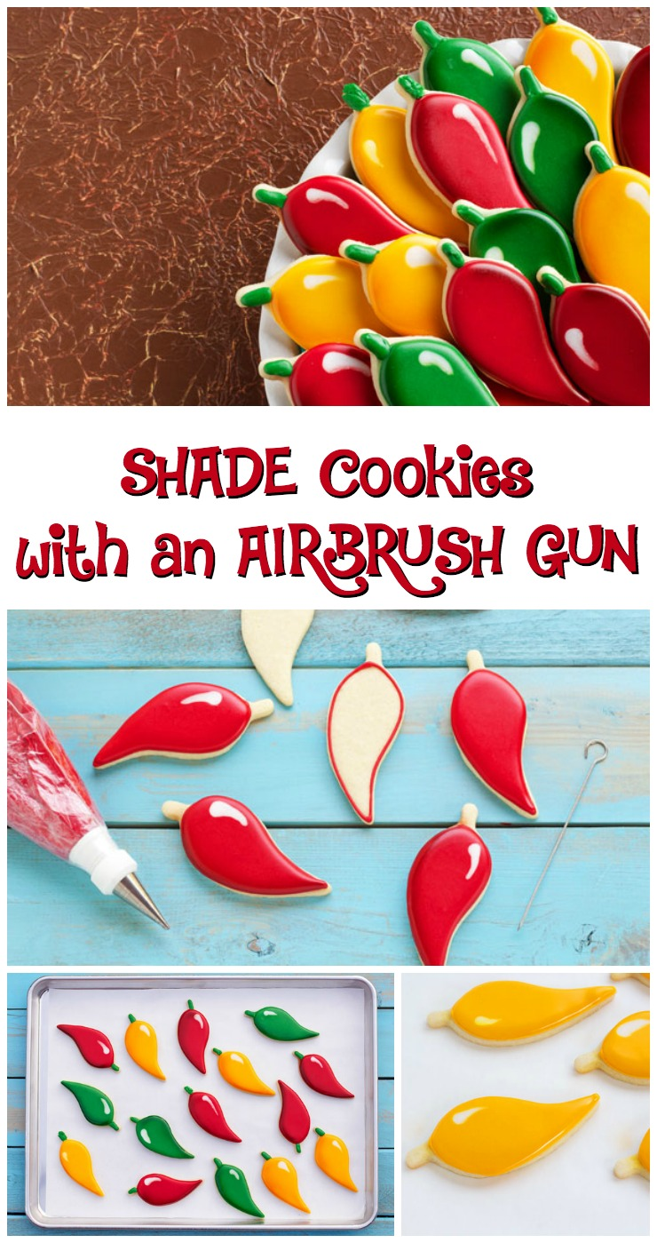 How to Shade Cookies with an Airbrush Gun via www.thebearfootbaker.com