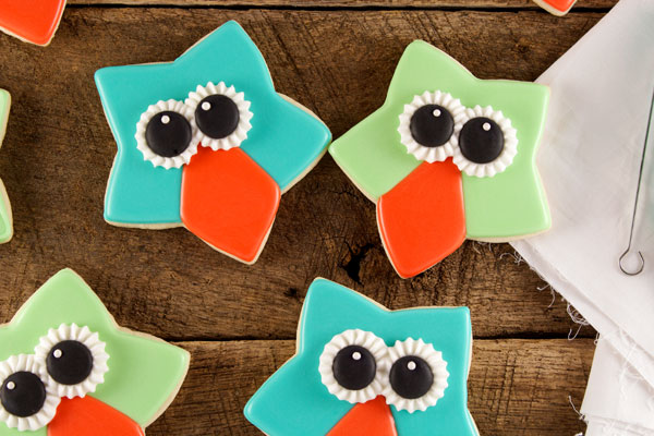 Easy Owl Cookies with a Star Cookie Cutter via www.thebearfootbaker.com