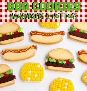BBQ Cookies Hamburgers & Hot Dogs via thebearfootbaker.com