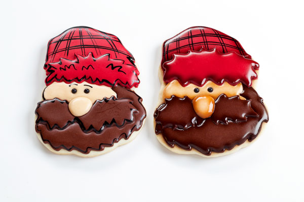 Easy Lumberjack Cookies - Sugar cookies decorated with royal icing with thebearfootbaker.com