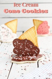 Ice Cream Cone Cookies - Easy Sugar Cookies Decorated with Royal Icing via www.thebearfootbaker.com.jpg