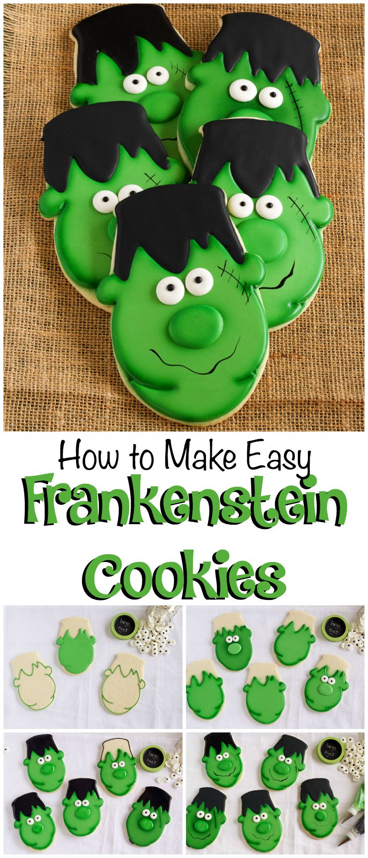 How to Make Easy Frankenstein Cookies via www.thebearfootbaker.com