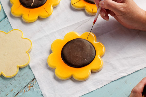 Simple Sunflower Cookies thebearfootbaker.com