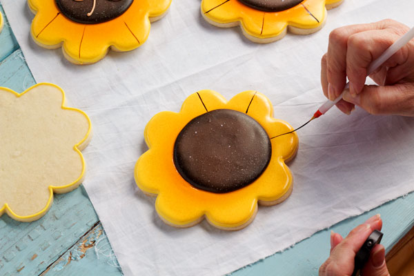 Simple Sunflower Cookies via thebearfootbaker.com