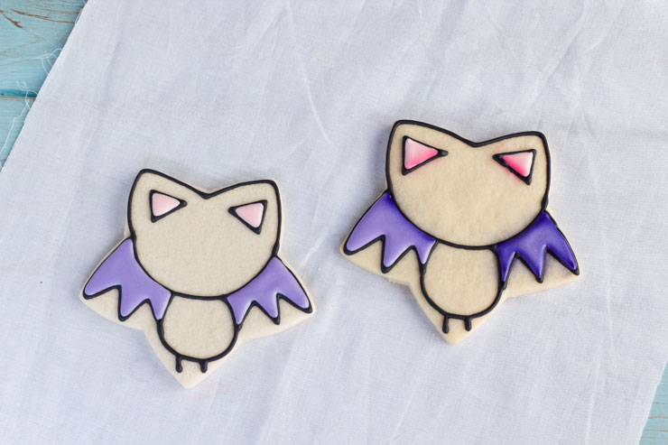 Easy Bat Cookies for Halloween- Girl bats by thebearfoootbaker.com