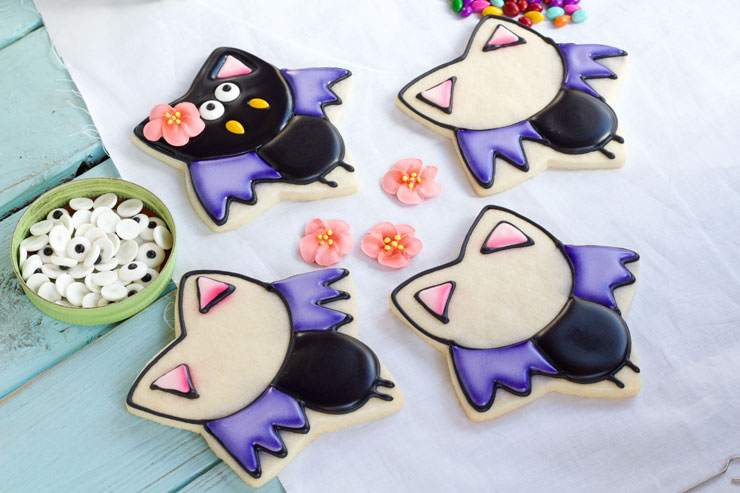 Easy Bat Cookies for Halloween- Girl bats thebearfoootbaker.com