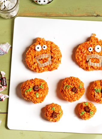pumpkin rice krispie treat zombies the bearfoot baker