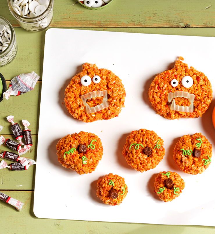 Pumpkin Rice Krispie Treat Zombies