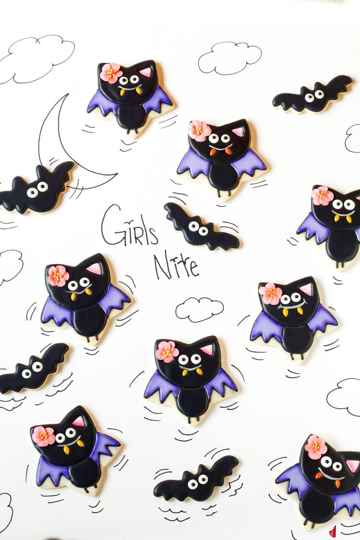 Simple Bat Cookies for Halloween- Girl bats by thebearfoootbaker.com