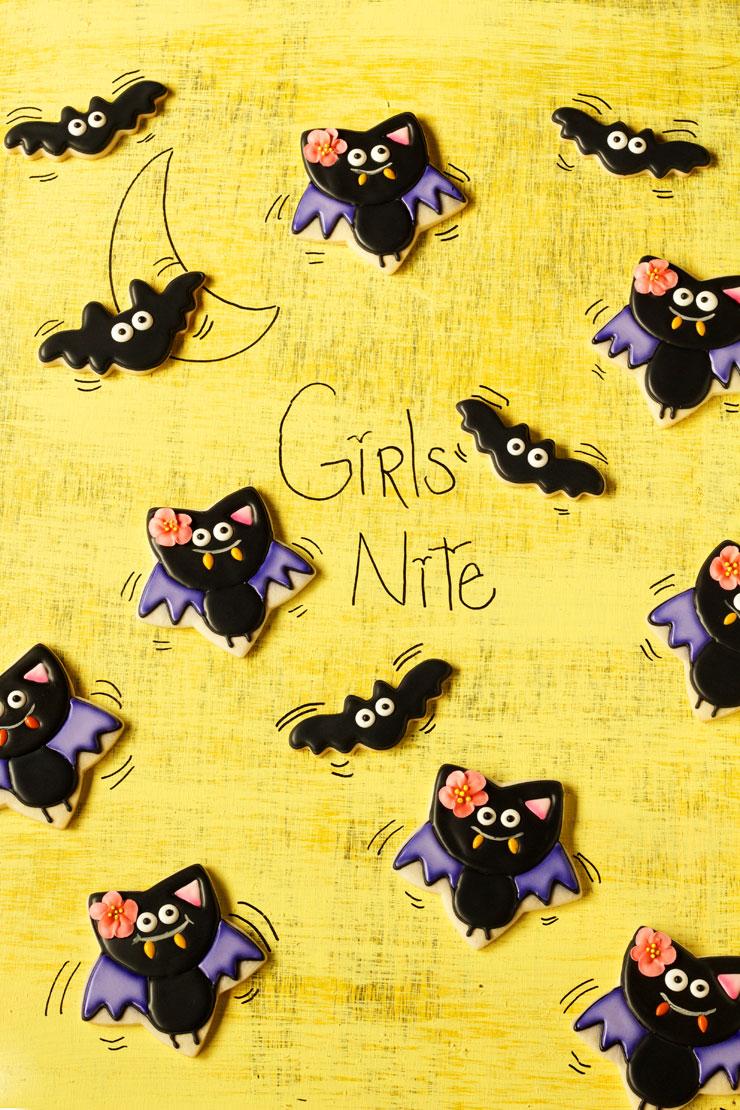 Simple Bat Cookies for Halloween- Girl bats www.thebearfoootbaker.com