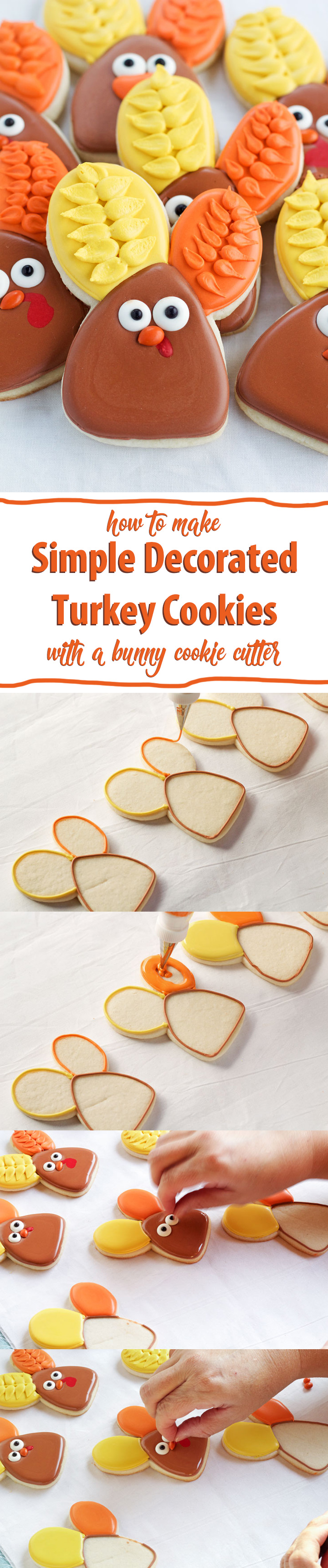 Decorated Turkey Cookies made with a Bunny Cutter | The Bearfoot Baker