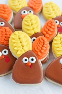 Easy Decorated Turkey Cookies made with a Cute Bunny Rabbit Cookie Cutter by thebearfootbaker.com