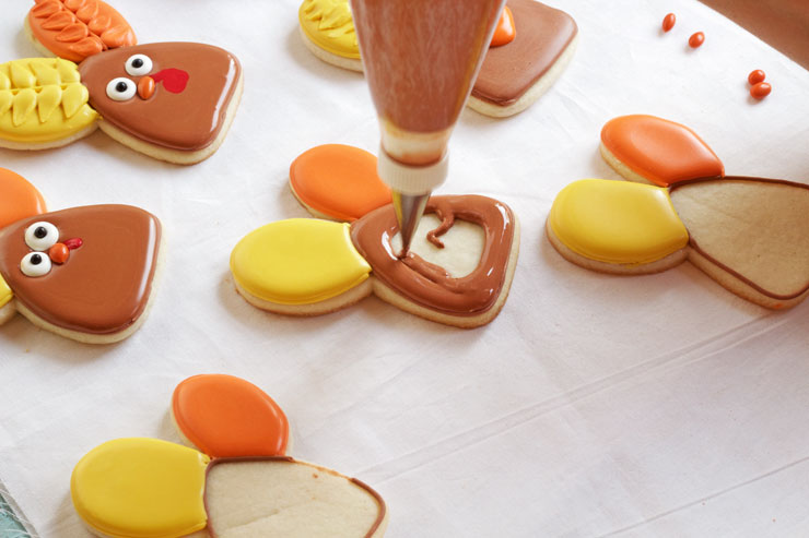 Easy Decorated Turkey Cookies that were made with a Cute Bunny Rabbit Cookie Cutter by www.thebearfootbaker.com