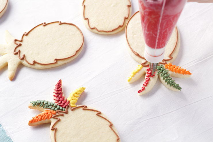 Easy Turkey Cookies are Sugar Cookies made with a Pineapple Cookie Cutter and Decorated with Royal Icing by thebearfootbaker.com
