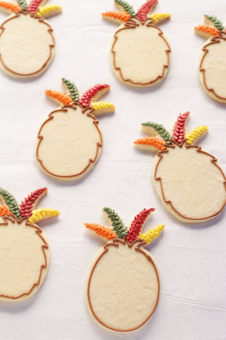 Easy Turkey Cookies are Sugar Cookies made with a Pineapple Cookie Cutter and Decorated with Royal Icing with www.thebearfootbaker.com