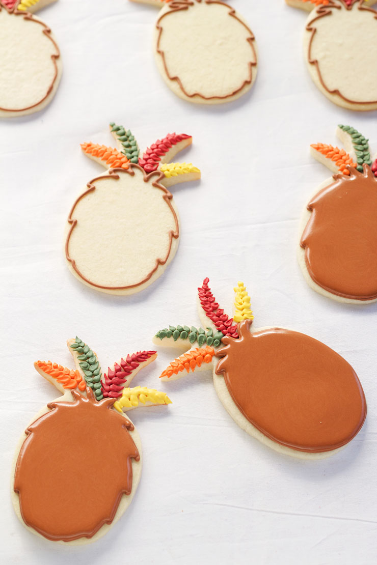 Easy Turkey Cookies are Sugar Cookies made with a Pineapple Cookie Cutter and Decorated with Royal Icing www.thebearfootbaker.com
