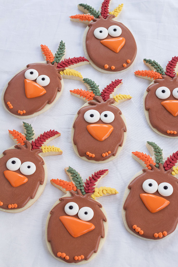 Easy Turkey Cookies are Sugar Cookies made with a Pineapple Cookie Cutter and Decorated with Royal Icing. by www.thebearfootbaker.com