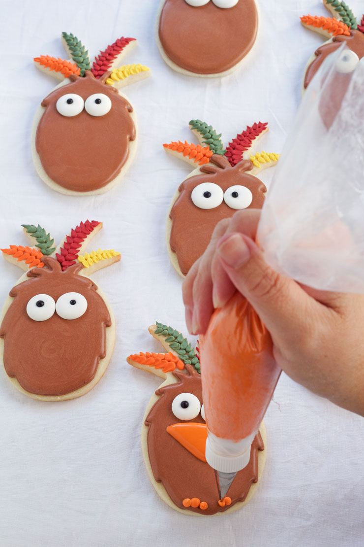 Easy Turkey Cookies are Sugar Cookies made with a Pineapple Cookie Cutter and Decorated with Royal Icing. via www.thebearfootbaker.com