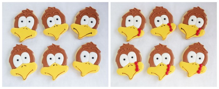Easy Turkey Cookies made with a simple acorn cookie cutter via www.thebearfootbaker.com