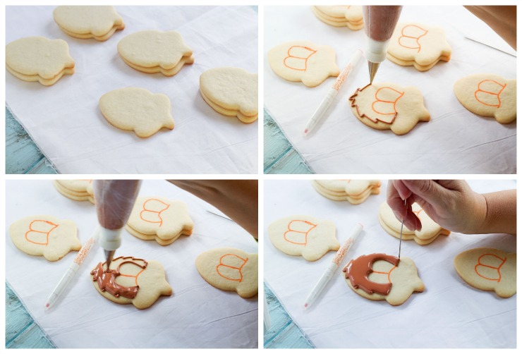 Easy Turkey Cookies made with an Acorn Cookie Cutter via www.thebearfootbaker.com