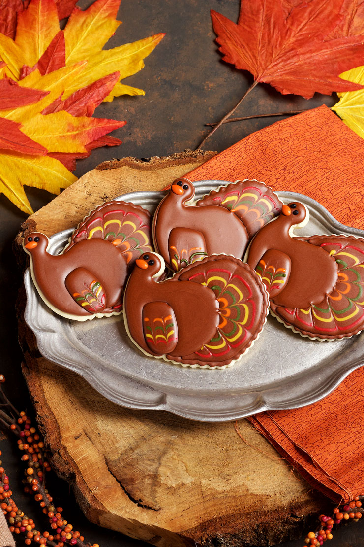 Pretty Turkey Cookies with thebearfootbaker.com