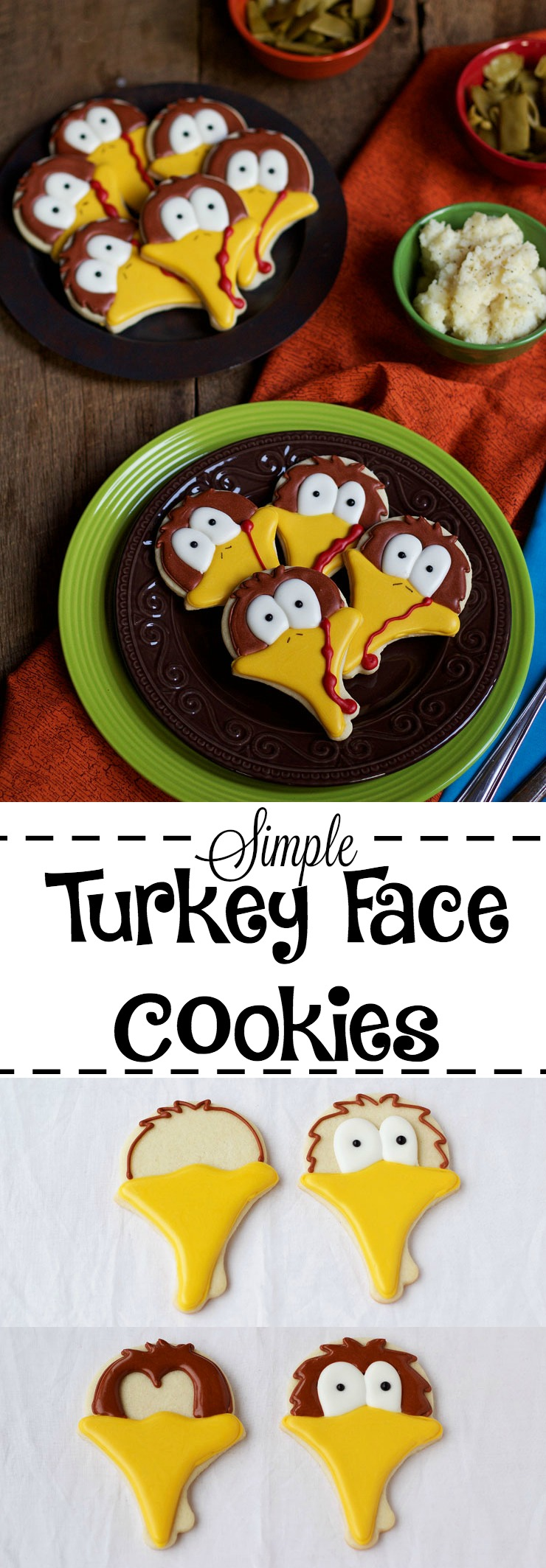 Simple Turkey Face Cookies | The Bearfoot Baker