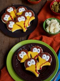 Turkey Face Cookies - Simple Sugar Cookies Decorated with Royal Icing thebearfootbaker.com