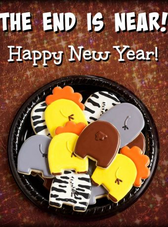 Animal Cookies can help you celebrate the New Year- The END is NEAR! Happy New Year! via www.thebearfootbaker.com