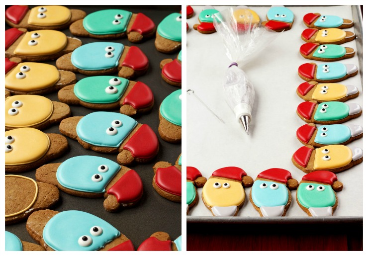 Simple Christmas Light Cookies with a Santa Hat - Sugar Cookies Decorated with Royal Icing via thebearfootbaker.com