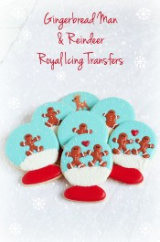 Simple and Cute Christmas Royal Icing Tranfers - Simple Gingerbread Men and Reindeer Edible Candy for Cookie Decorating via www.thebearfootbaker.com