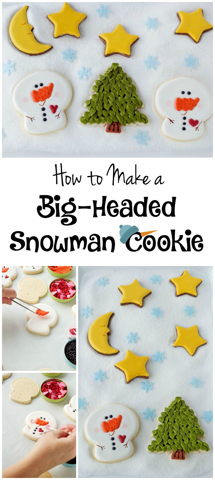 Big-headed snowman cookies via www.thebearfootbaker.com