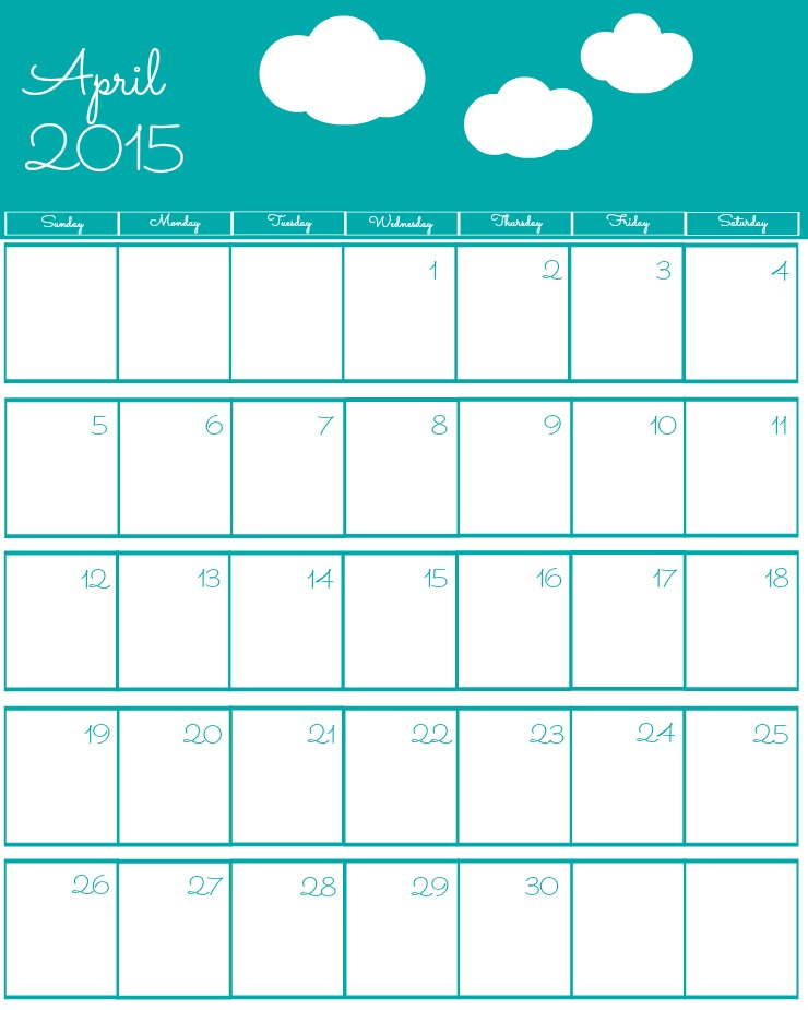 Free 2015 Printable Calendar April via www.thebearfootbaker.com