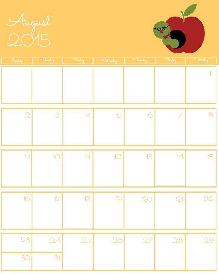 Free 2015 Printable Calendar August via www.thebearfootbaker.com