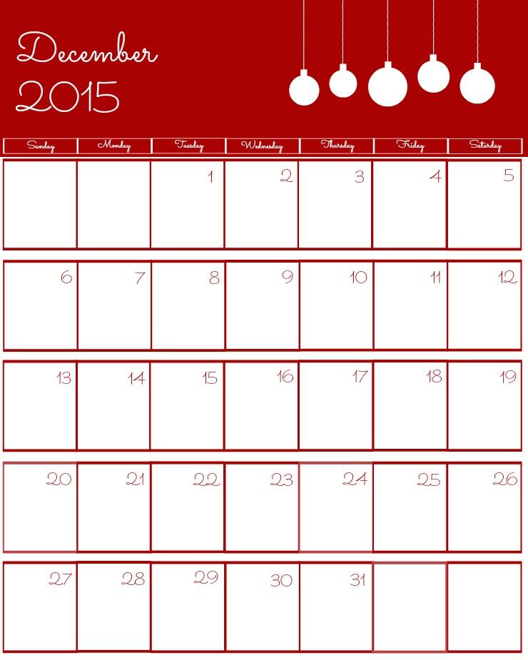 Free 2015 Printable Calendar December via www.thebearfootbaker.com
