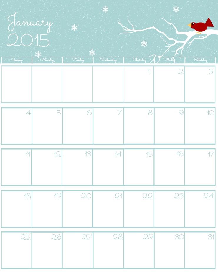 Free 2015 Printable Calendar January via www.thebearfootbaker.com
