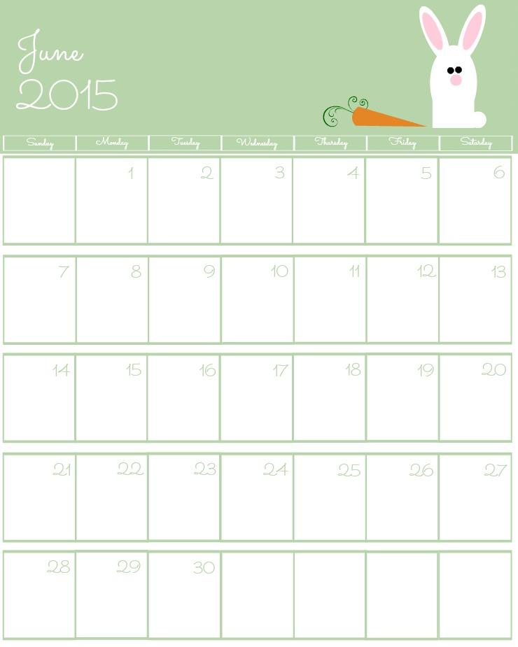 Free 2015 Printable Calendar June via www.thebearfootbaker.com