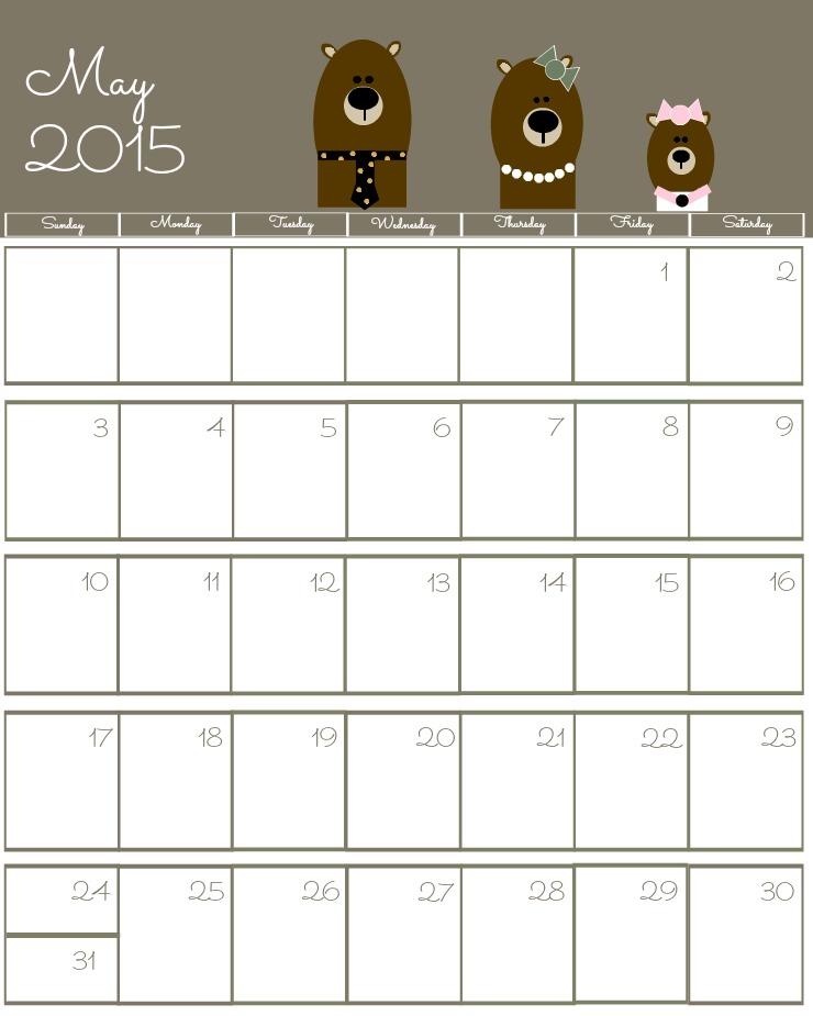 Free 2015 Printable Calendar May via www.thebearfootbaker.com