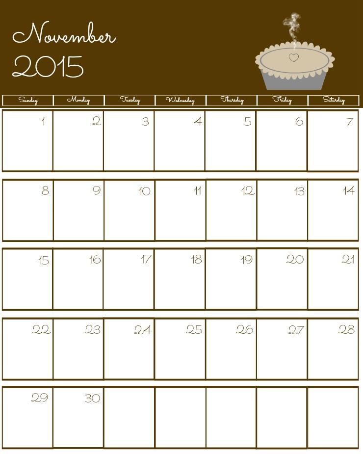 Free 2015 Printable Calendar November via www.thebearfootbaker.com