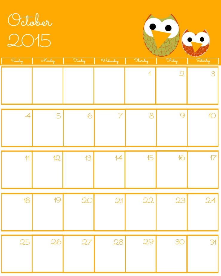 Free 2015 Printable Calendar October via www.thebearfootbaker.com