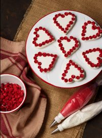 Heart Cookies with Ribbon Roses via www.thebearfootbaker.com