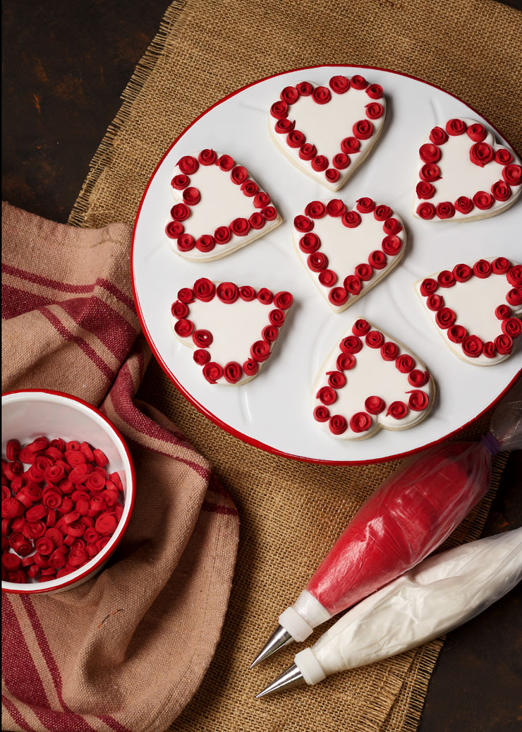Heart Cookies with Ribbon Roses