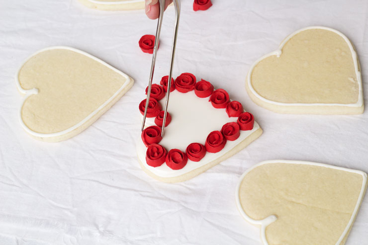 Heart Cookies with Ribbon Roses www.thebearfootbaker.com