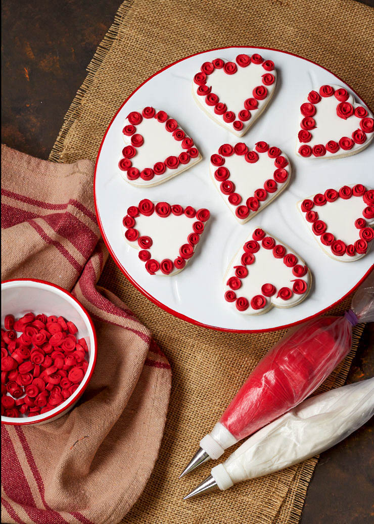 How to Make Heart Cookies with Ribbon Roses | The Bearfoot Baker