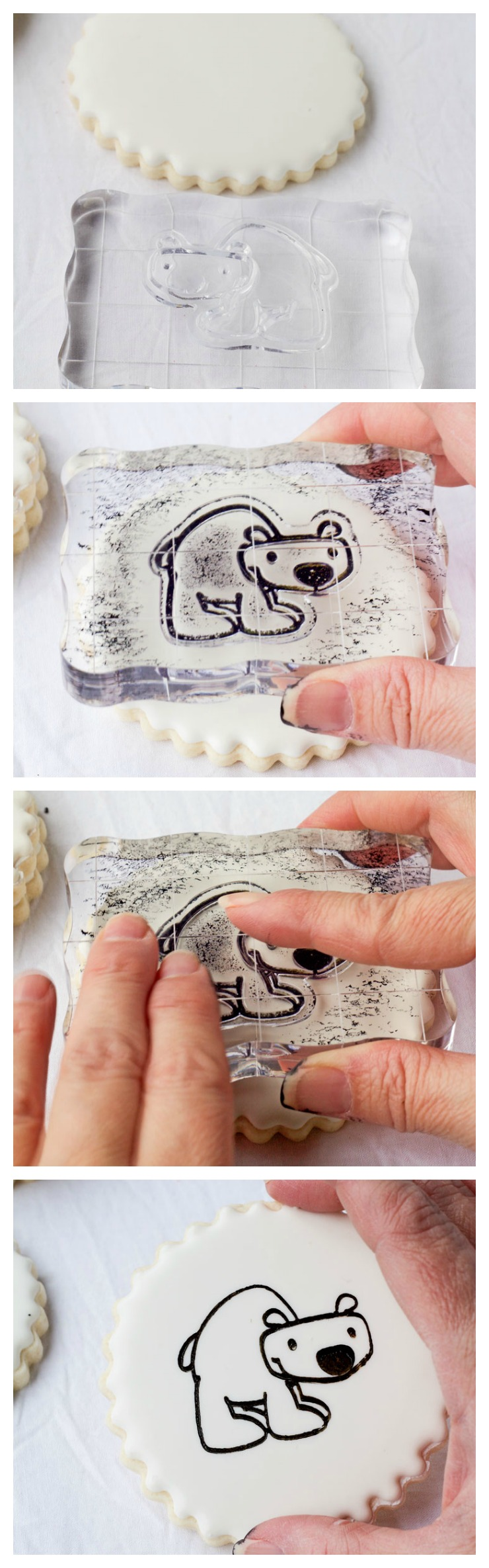 How to Stamp on a Cookie - Cookie Decorating just got EASY!! via www.thebearfootbaker.com