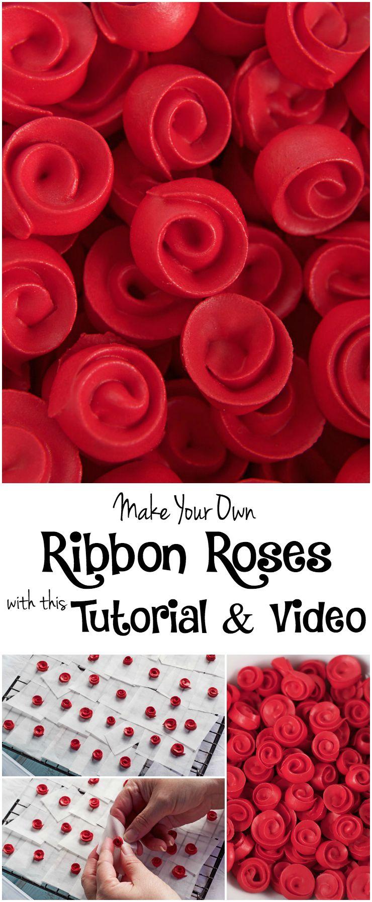 Ribbon Rose Video Tutorial via www.thebearfootbaker.com