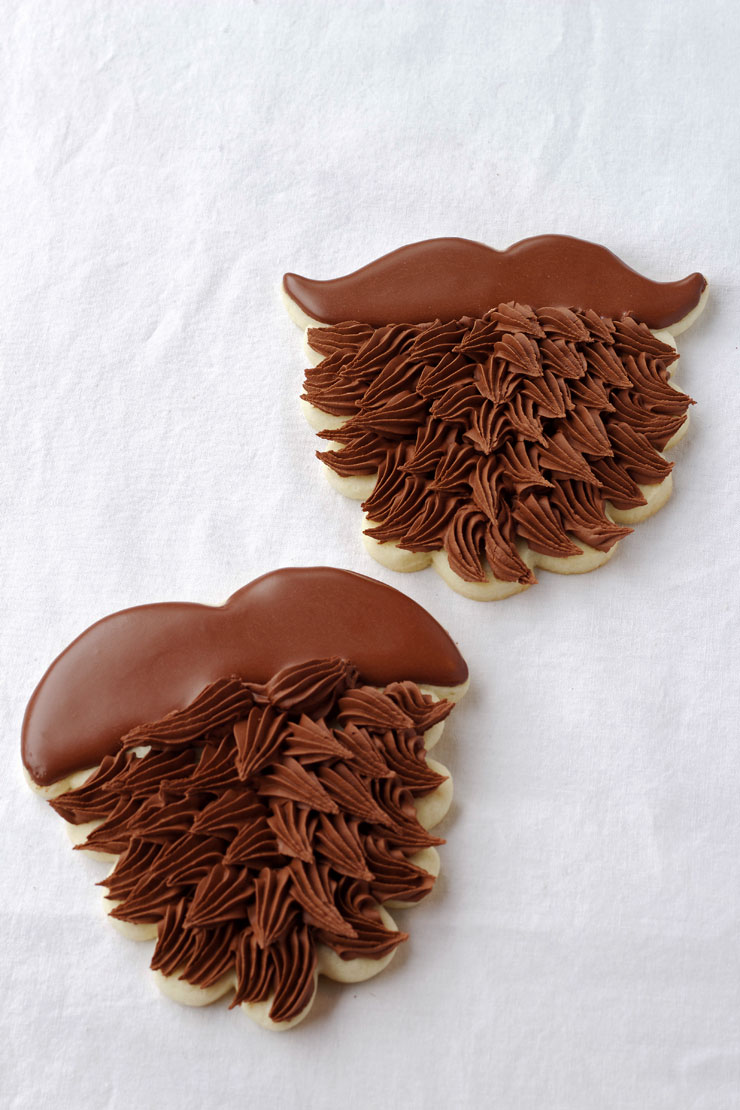 Easy Beard Cookies - Sugar Cookies Decorated with Royal Icing by thebearfootbaker.com