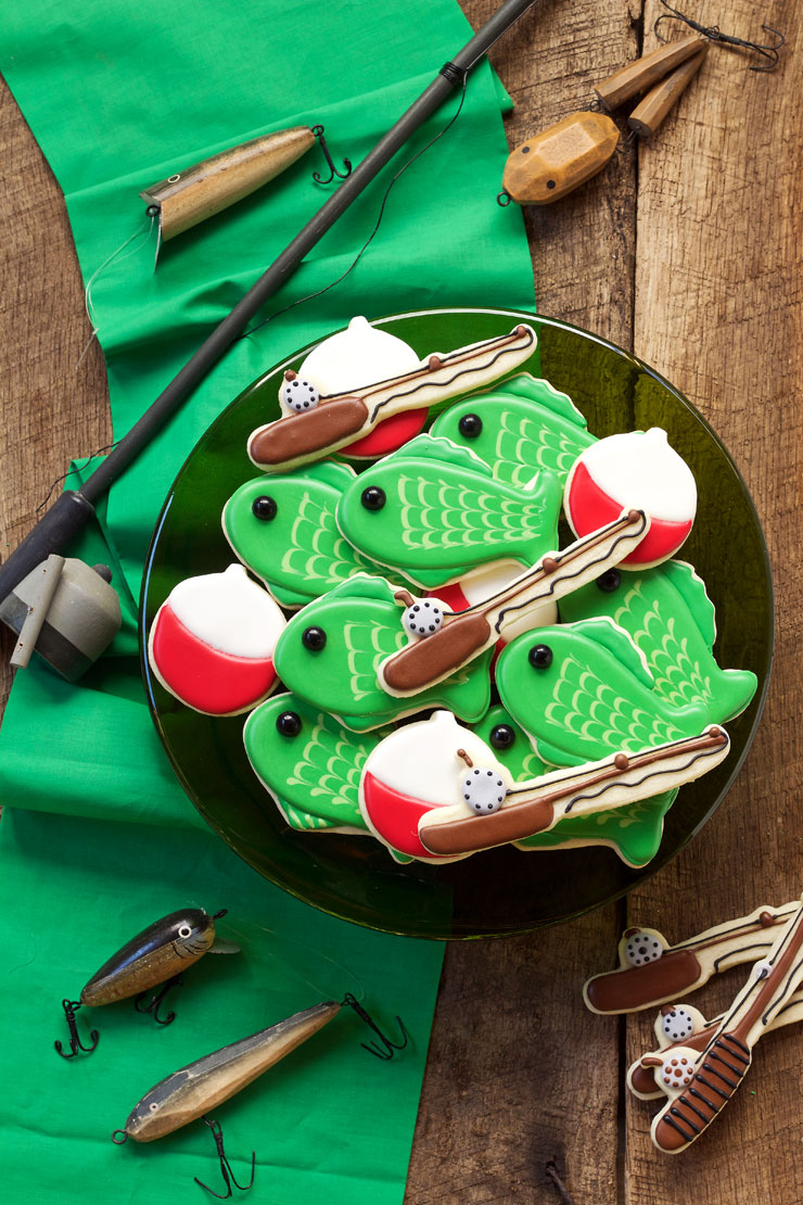 Fishing Cookies - Simple Cut Out Sugar Cookies Decorated with Royal Icing via www.thebearfootbaker.com