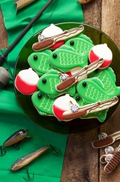 Fishing Cookies - easy Cut Out Sugar Cookies Decorated with Royal Icing via www.thebearfootbaker.com