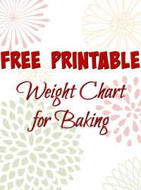 Free Printable Baking Weight Chart www.thebearfootbaker.com